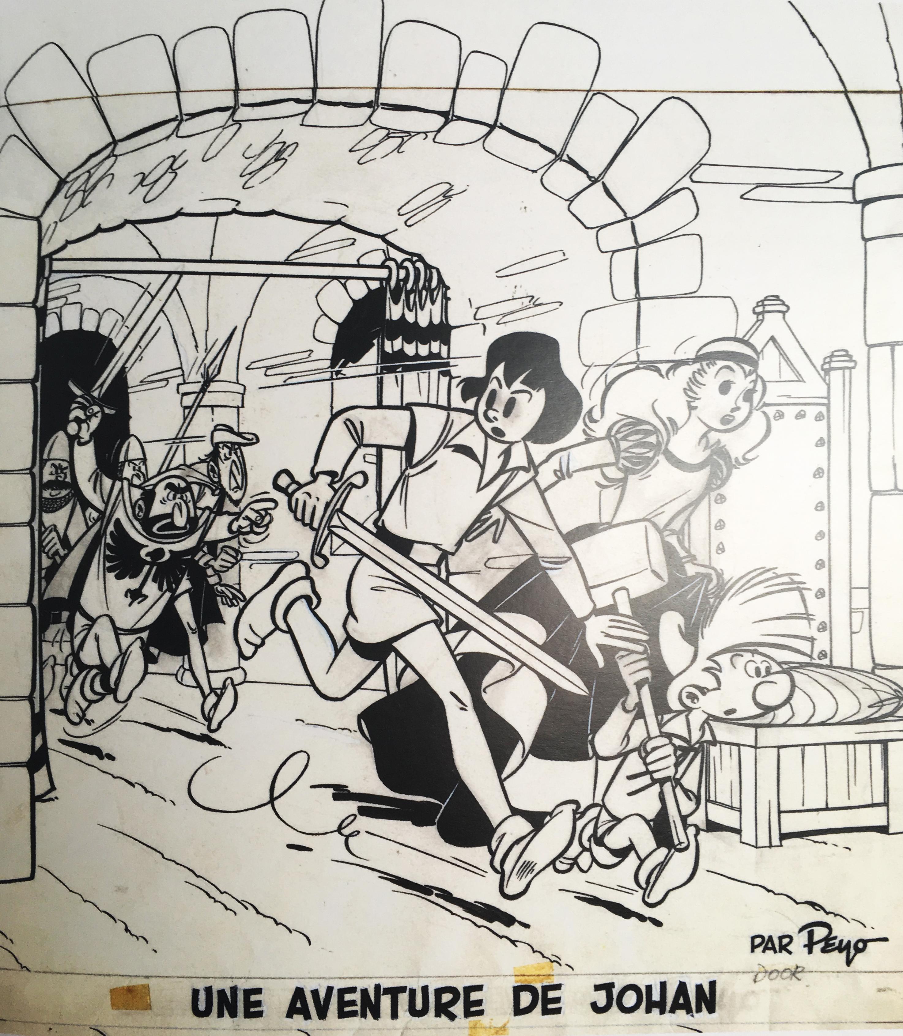 Peyo, Johan - Le Lutin du bois aux roches, illustration de couverture, 1954.jpg