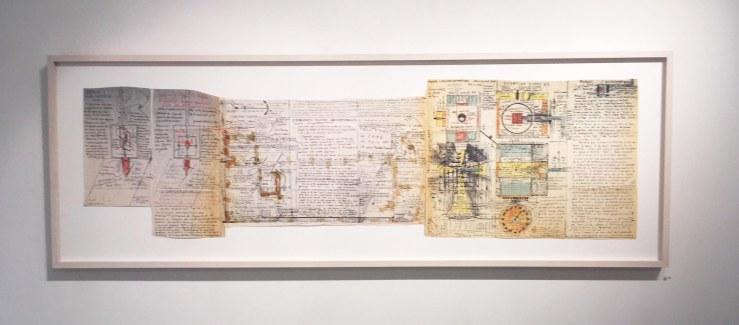 Jean PERDRIZET sans titre (ancre de l'âme), à partir d'un dessin de 1968, technique mixte sur papier, 50 x 172.5 cm.jpg