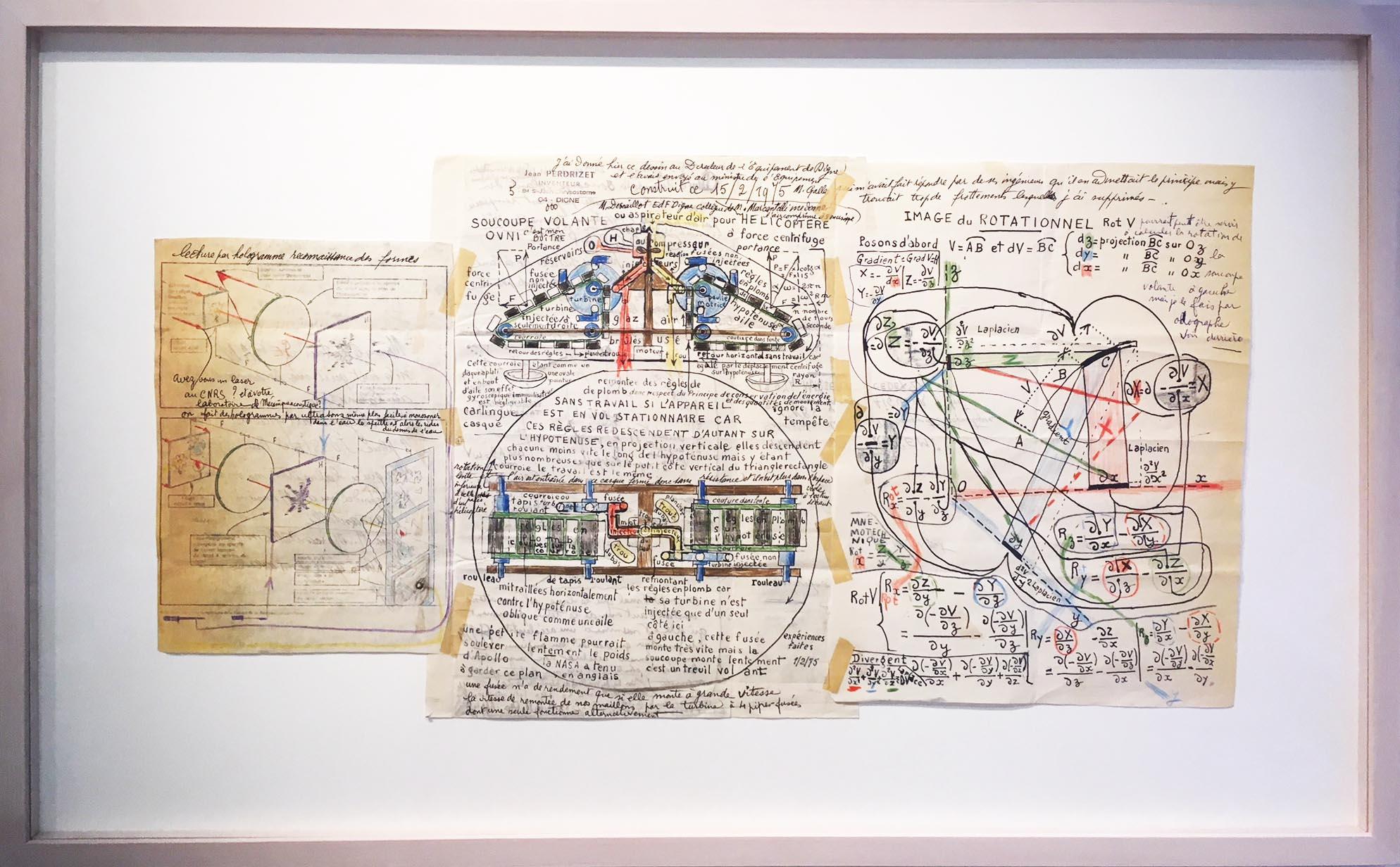 Jean Perdrizet, soucoupe volante OVNI, 1975, technique mixte sur papier, 37,8 x 70,5 cm.jpg